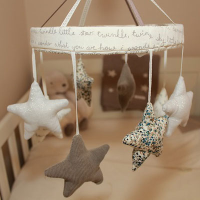Baby star mobile. Baby quotes for greeting card messages.