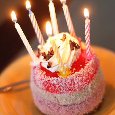 Birthday cake with candles. Birthday quotes for greeting cards messages.