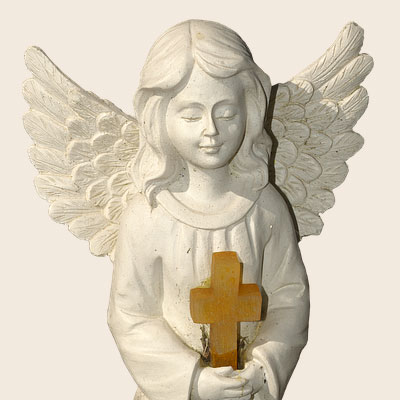 Angel with cross. Christian baby greeting card messages, poems, verses.