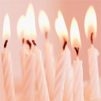 White striped birthday candles.